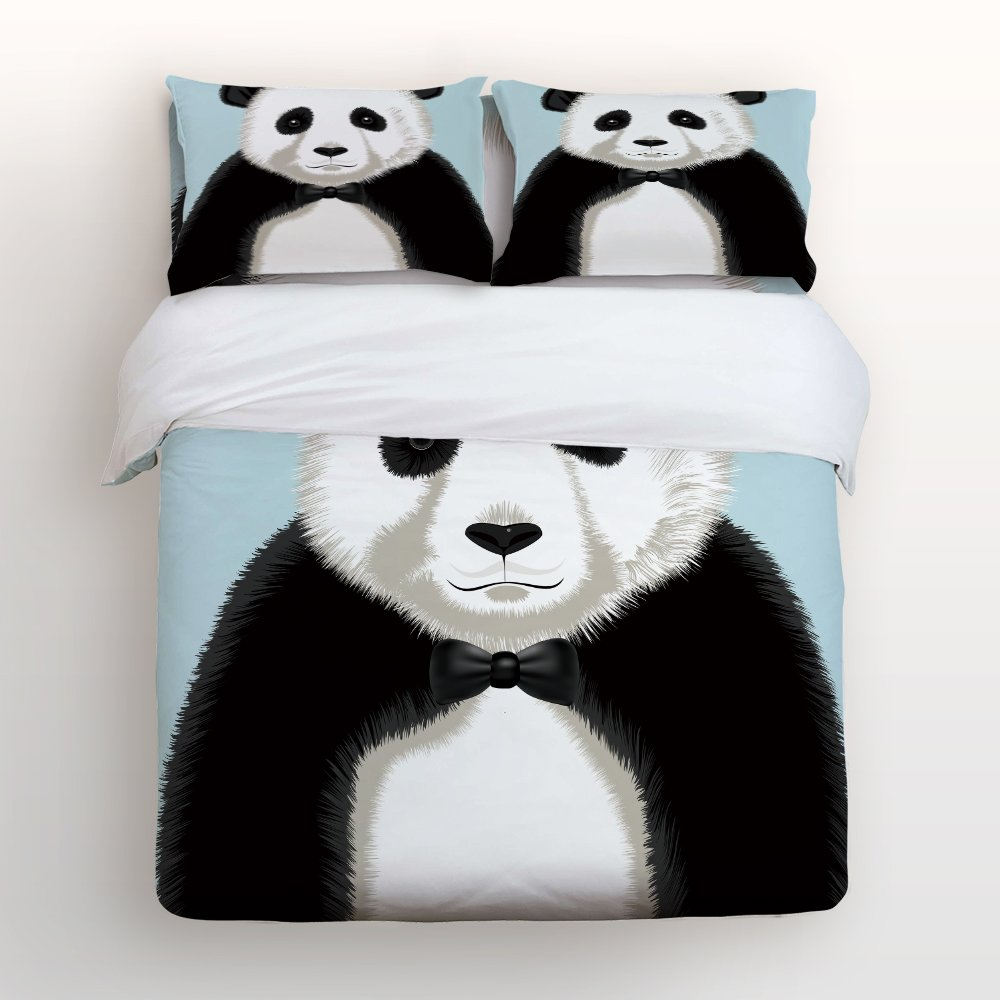 Libaoge 4 Piece Bed Sheets Set, Funny Panda Print, 1 Flat Sheet 1 Duvet Cover and 2 Pillow Cases