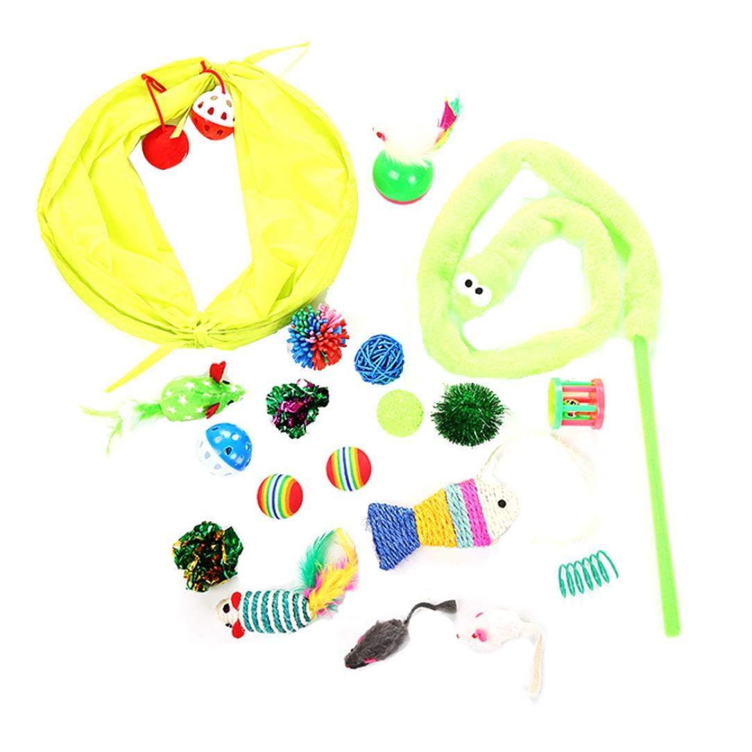 WYXlink Jouets pour Chat Lot DE 20pour l'intérieur Chaton Jouets à Herbe à Chat Jouets Balles Plumes Interactive Cat Baguette à mâcher et de Formation Funny Toys Définit