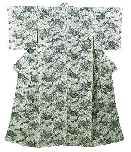 リサイクル 着物 小紋 波に蝶や花模様 正絹 袷 裄64cm 身丈158cm