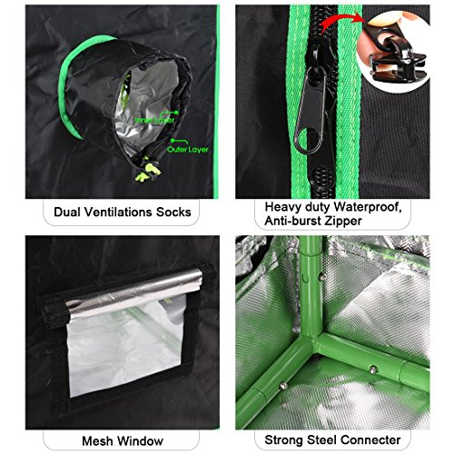 "61cVEjgkHDL - Quictent SGS Approved Eco-friendly 48""x24""x72"" Reflective Mylar Hydroponic Grow Tent with Heavy Duty Anti-burst Zipper and waterproof Floor Tray for Indoor Plant Growing 4'x2'"