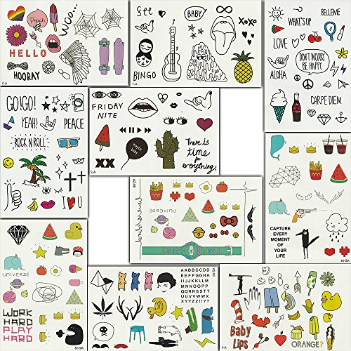 Foxjoy Temporary Tattoos, 200 Designs, 10 Sheets, 6x4 inches (Rapper)