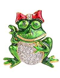 Ever Faith Women's Crystal Green Enamel Lovely Frog with Red Bowknot Brooch Pin Clear Gold-Tone