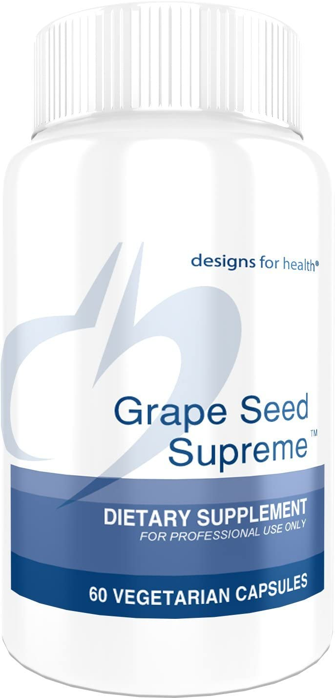 Designs for Health Grape Seed Supreme – 200mg Grape Seed Extract Muscadine Grape 60 Capsules