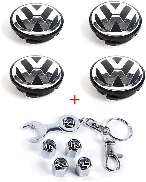 CCBaseball Set of 4 - Volkswagen Wheel Center Caps Emblem, 65mm VW Rim Hub Cover Logo + Set of 4 Tire Valve Covers for VW Volkswagen Golf Jetta GTI ...