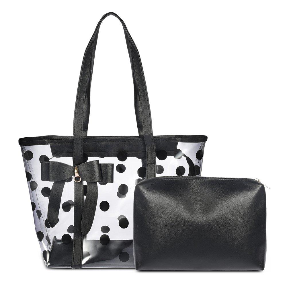 Vbiger Clear Tote Bag With Zipper 2 In 1 Waterproof Handbag (Black)