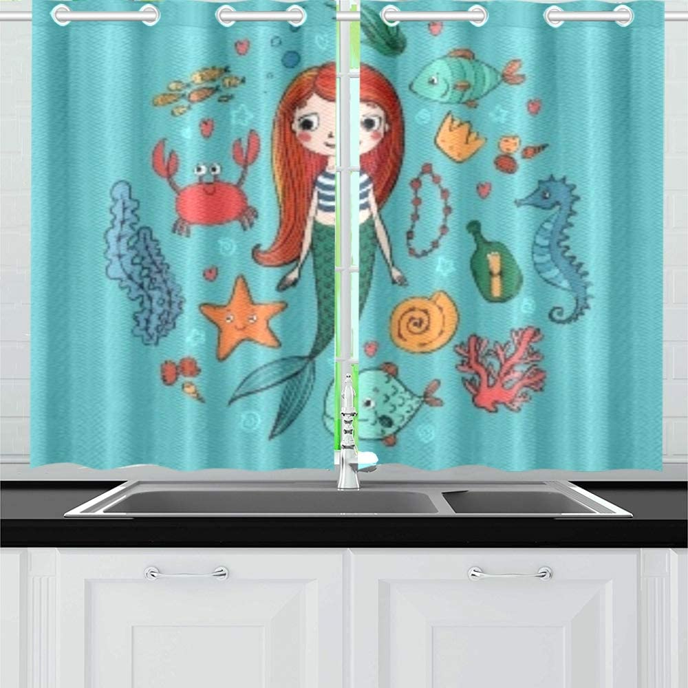 Zhanghome Marine S Set Little Cute Cartoon Kitchen Curtains Window Curtain Tiers For Café Bath Laundry Living Room Bedroom 26 X 39 Inch 2 Pieces Amazon Co Uk Kitchen Home