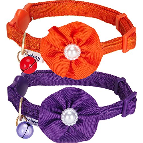 Blueberry Pet Spring Pack of 2 Cat Collars, The Beloved Fancy Metallic Thread Adjustable Breakaway Cat Collar with Bell and Flower Deco, Glamour Orange & Byzantium Purple, Neck 9