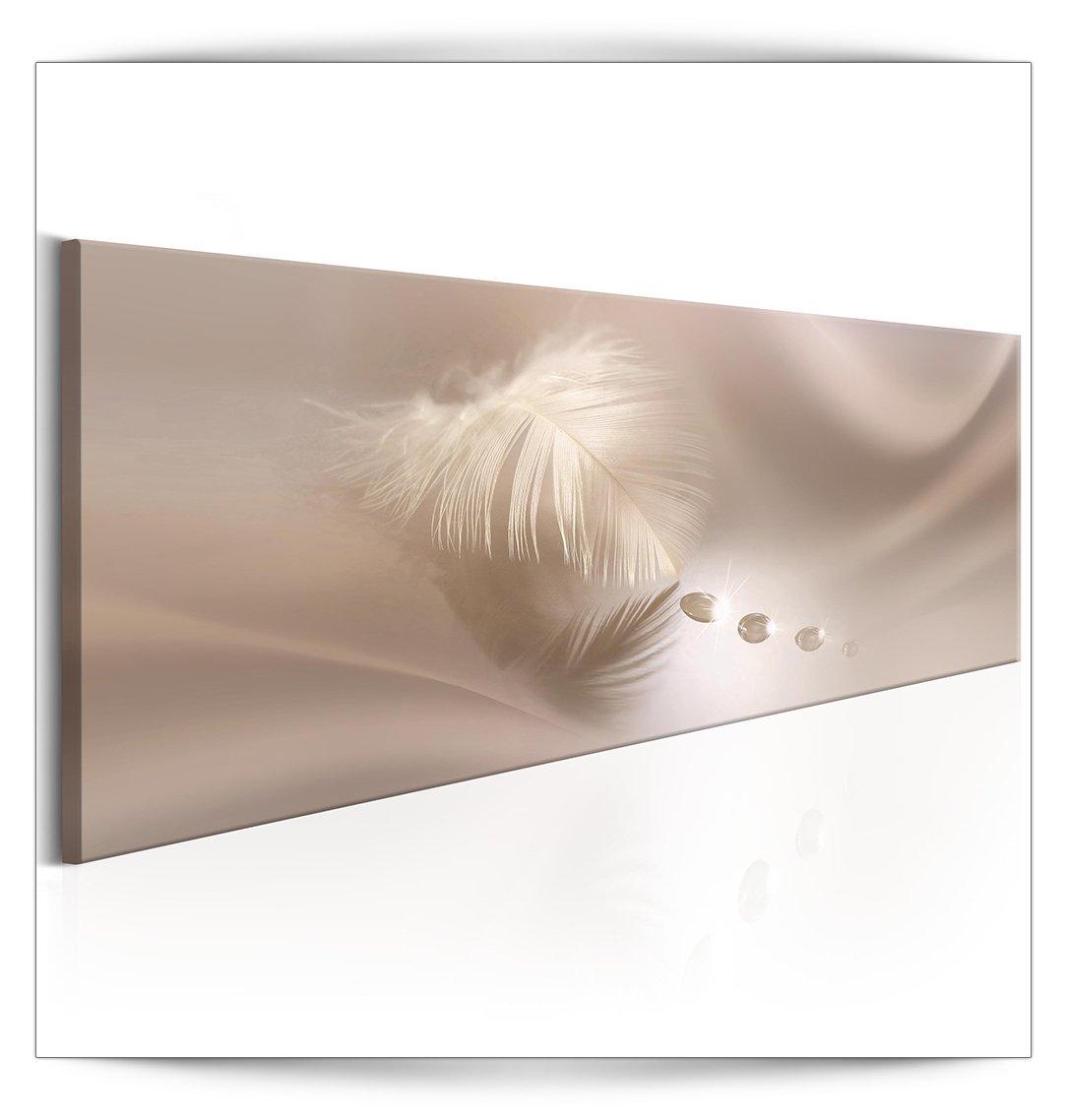 decomonkey Akustikbild Feder 135x45 cm 1 Teilig Bilder Leinwandbilder Wandbilder XXL Schallschlucker Schallschutz Akustikdämmung Wandbild Deko leise Tropfen rosa beige