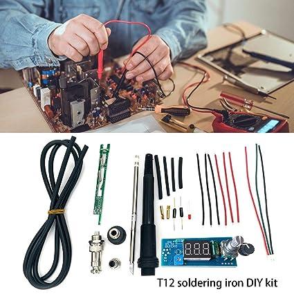 Morningtime Kit Soldador Electronica Temperatura Ajustable 200-450°C con Led Set Soldador Estaño
