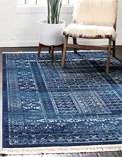 (Unique Loom District Collection Abstract Over-Dyed Vintage Border Blue Area Rug (4' 0 x 6' 0))