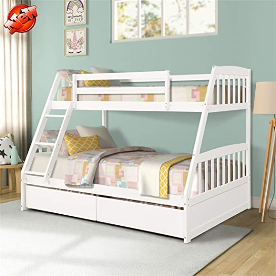 Rajmarti Latest Upgrade Stronger Solid Wood Twin Over Full Bunk Bed