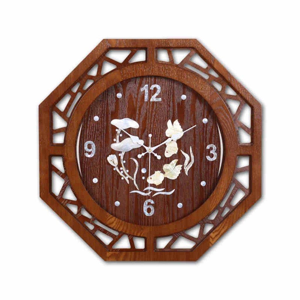 GRJH® 新しい中国のソリッドウッドのリビングルームウォールクロックカラーシェルクォーツウォッチ中国風時計ベッドルームミュートハンギングテーブル クリエイティブファッションシンプル B07CNKQLZJ