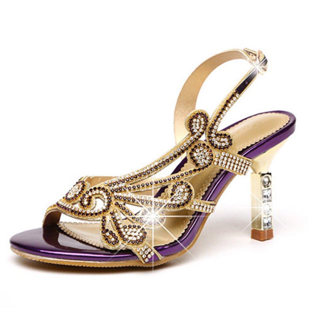 ZYQME Frauen Peep Toe Block High Heels Sandalen Schuhe Strass Straps Hochzeit Prom Party Brautschuhe