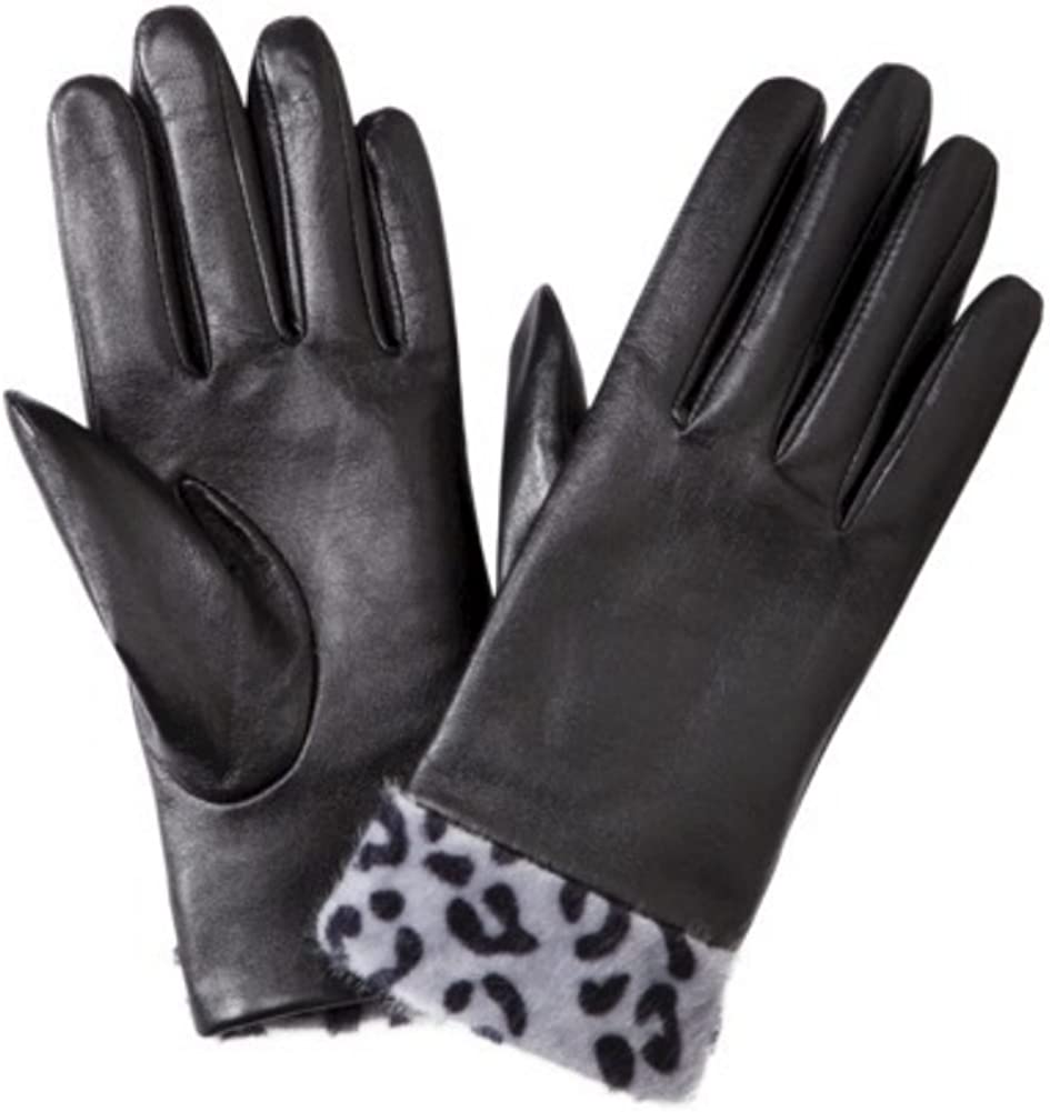 Womens Black Leather Gloves with Gray Leopard Print Cuff