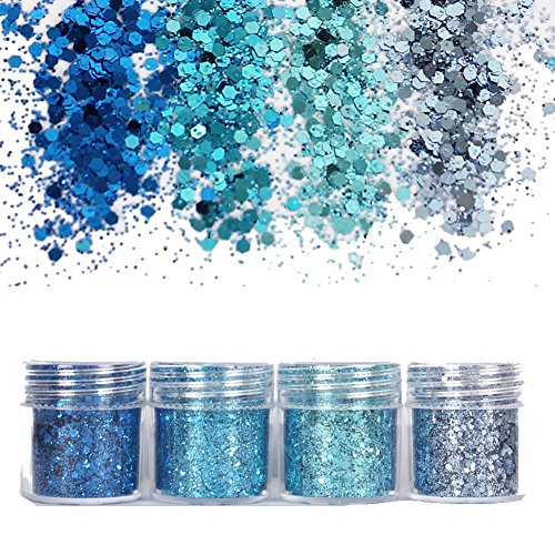 Nice 4 Pack Cosmetic Glitter For Face, Body, Hair and Nail - Chunky Blue Mermaid Face Glitter Mix Rave Festival Glitter for Beauty Makeup hot sale