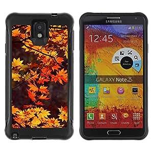 "Pulsar iFace Series Tpu silicona Carcasa Funda Case para SAMSUNG Galaxy Note 3 III / N9000 / N9005 , Brown deja Red Tree Naturaleza Otoño"""