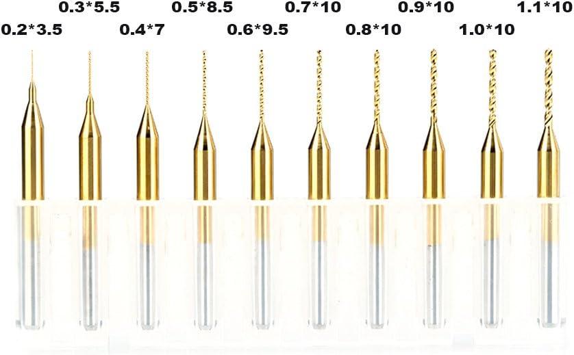 HUHAO 10PCS Cobalt PCB Drill Bits 1//8 Shank Micro Twist Mini Drill Bits For Print Circuit Board with 0.2-1.1mm Cut Diameter