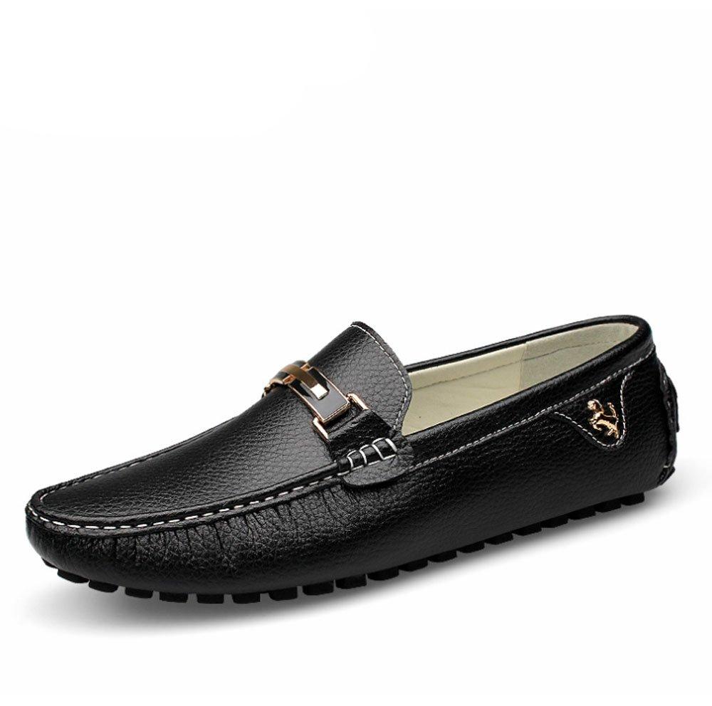 HAOYUXIANG Zapatos de guisantes de cuero suave de los hombres zapatos de fondo perezosos de verano nueva tendencia de un pedal zapatos británicos coreanos (Color : Negro, Tamaño : 42) 42|Negro