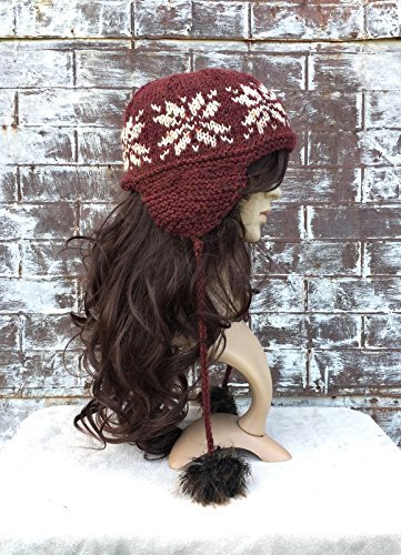 FAUX FUR HAT, Trapper Hat, Snowflake Hat, Fur Pom Pom Hat,