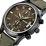 KINGMAN.INC Mens Sport Military Chronograph Auto Waterproof Quartz Canvas Band Casual Wrist Watches