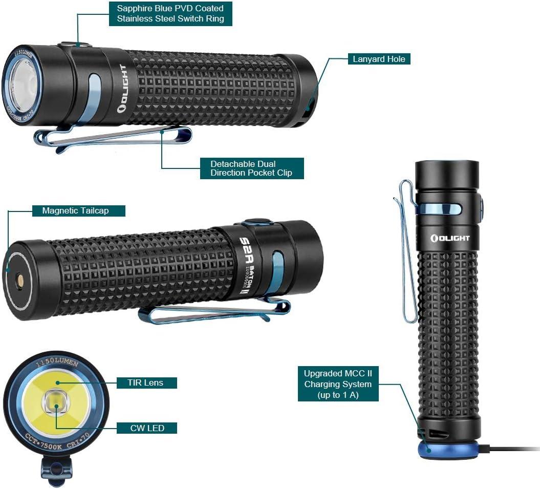 Olight S2R II Baguette 1150 LM magnétique DEL Rechargeable Lampe Torche 18650 Batterie