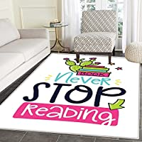 Book Area Rug Vivid Color Cactus and Stars Behind Books with Inspirational Print Never Stop Reading Indoor/Outdoor Area Rug 2x3 Multicolor