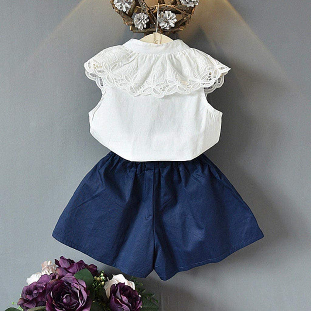 Easter Outfits Clothes,Toddler Kids Baby Girls Outfits Clothes Lace T-Shirt Tops+Shorts Pants 2PCS Set