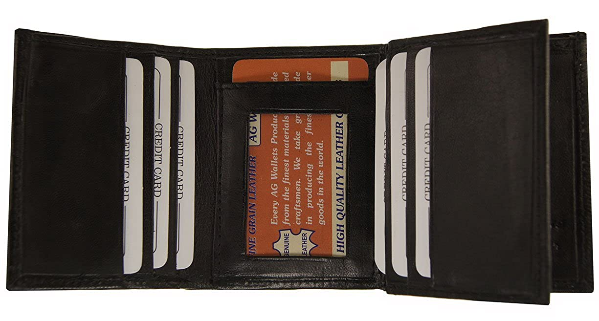 AG Wallets Genuine Leather Mens Ostrich Skin Embossed Trifold Wallet Black