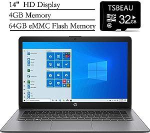 "HP Stream 14"" Laptop, AMD A4-9120e up to 2.5 GHz, 4GB Memory, 64GB eMMC, Windows 10 Home in S Mode, Brilliant Black, Webcam, Bundled with TSBEAU 32GB Micro SD Card"