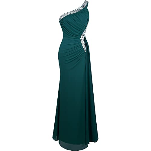 Angel-fashions Womens One Shoulder Evening Dresses Pleated