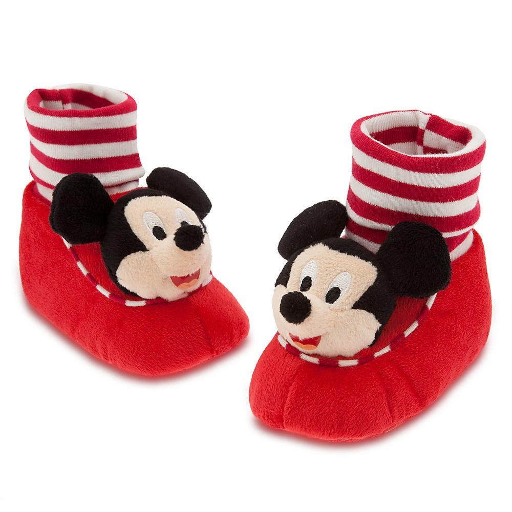 Disney Store Mickey Mouse Plush Slippers Shoes Size 12-18 Months Red by Disney