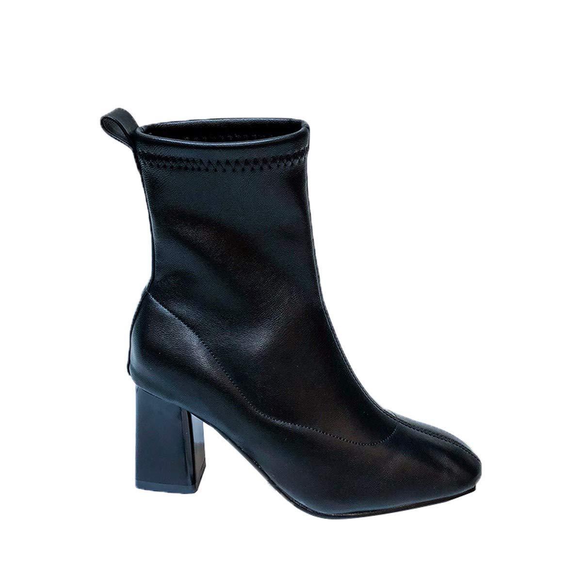 Olici Damen Elegante Arbeits-   Freizeitstiefel schmal hoch 7 cm hoch mit rundem Kopf Dicker Ferse Kurze Stiefel