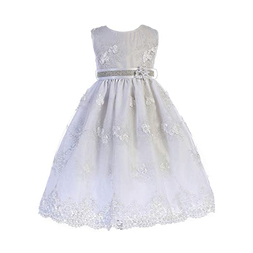 22bcd3914e9 Amazon.com  Crayon Kids Little Girls White Floral Embroidered Flower ...