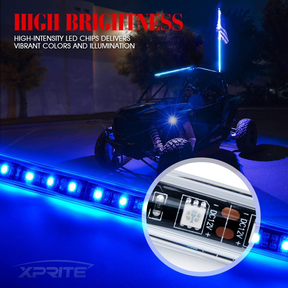 1.5M Xprite 5ft LED Whip Lights Waterproof Flag Pole Safety Antenna w//Flag for Sand Dune Buggy UTV ATV RZR 4X4 Truck Offroad Jeep RED