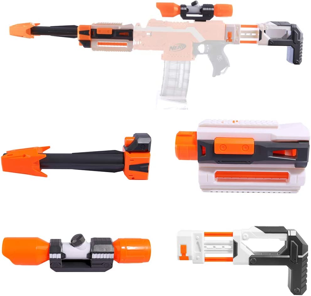 Modification Kit Upgrade Accessories Set for Nerf Riflescope Front Tube Rifle Piston Guide Rail Adapter for Nerf (Orange)
