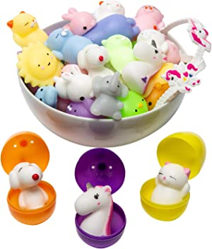 Mochi Squishy Toys Animal Squishies - 3 Surprise Eggs Mini Kawaii Cat Squeeze 16pcs Stress Relief Toys Squishys Unicorn Wristband Party Favors for Kids Toys for Claw Game Pinata Filler Machine Refill