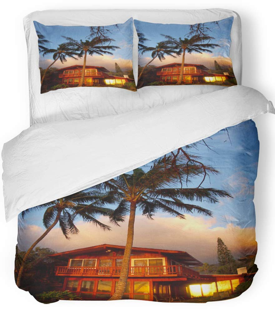 Emvency 3 Piece Duvet Cover Set Breathable Brushed Microfiber Fabric Sunrise Reflects Into The Window of Red Beach House with Tall Coconut Trees Bedding Set with 2 Pillow Covers Twin Size