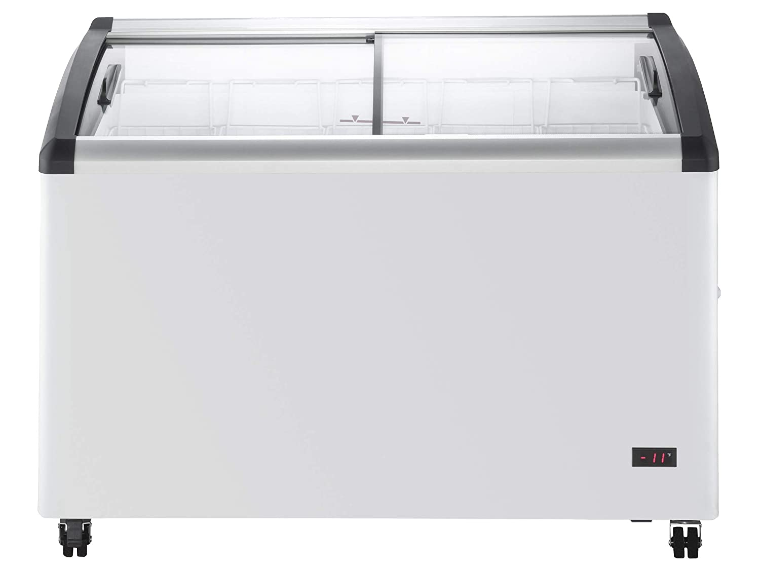 Chef's Exclusive Commercial Mobile Ice Cream Display Chest Freezer Curved Sliding Glass Lids Frost Free Sub Zero with 5 Wire Baskets, 47.4 Inch Wide, White 61cVN7S66DL._SL1500_