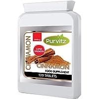 Cinnamon Extract 2000mg 120 Tablets High Potency Blood Sugar Control Powerful Antioxidant Potent Anti-Inflammatory Lower Cholesterol Levels Made UK Purvitz