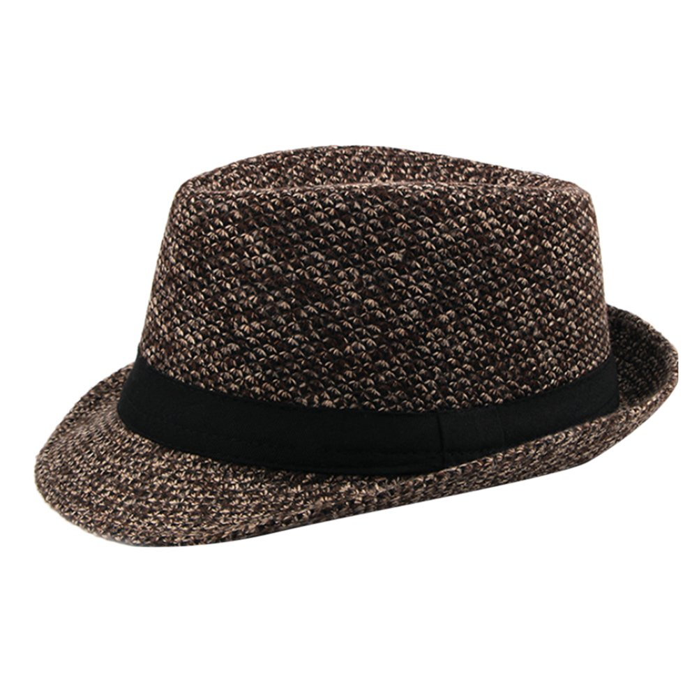 Zhhlinyuan Mens Classic Vintage Tweed Fedora Trilby Hat Jazz Hat With Black  Band at Amazon Men s Clothing store  fbe80e243c7