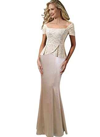 VFSHOW Womens Elegant Lace Peplum Formal Evening Prom Gown Maxi ...