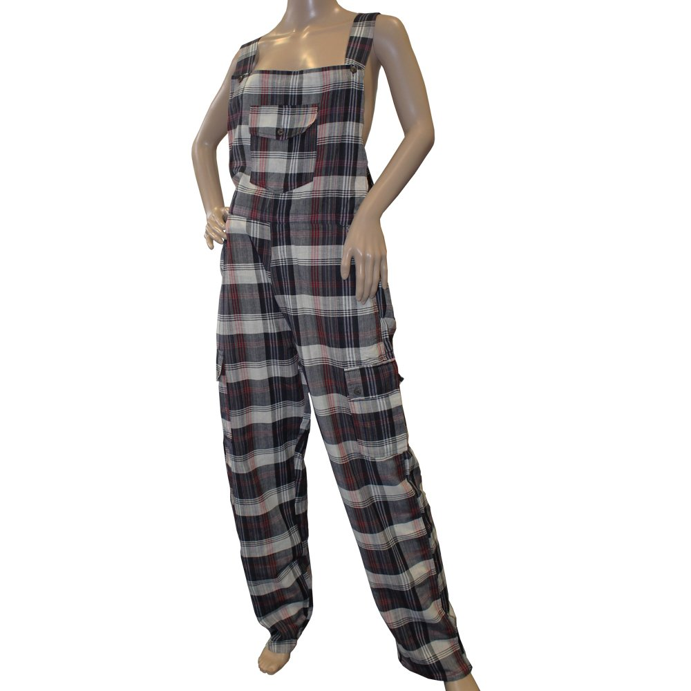 Greyjoy Funky Chequered Cotton Combat Dungarees Nepalese Brightly Coloured Dungarees