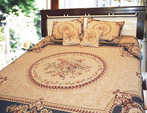 DaDa Bedding Chenille Bedspread Set - Victorian Medallion Soft Tapestry Coverlet - Elegant Bright Vibrant Floral Garden - Dark Navy Blue & Beige - Single/Twin