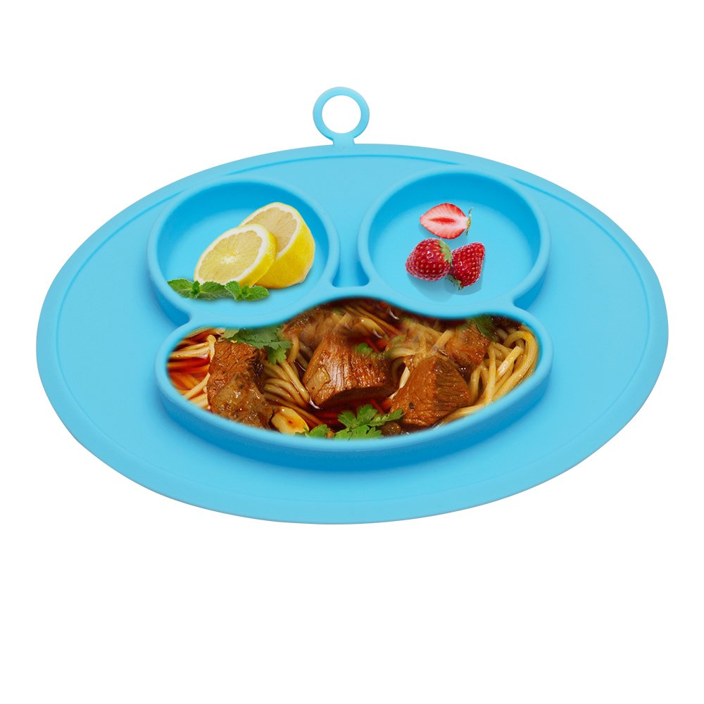 URSMART Baby Rice Plate Silicone Food Placemats Kids Suction to Dining Table Kitchen Dinnerware (blue)