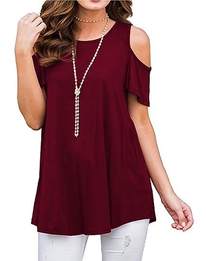 002ea55f9d4 Cnokzol Women Cold Shoulder Plus Size Shirt Casual Loose Blouse ...