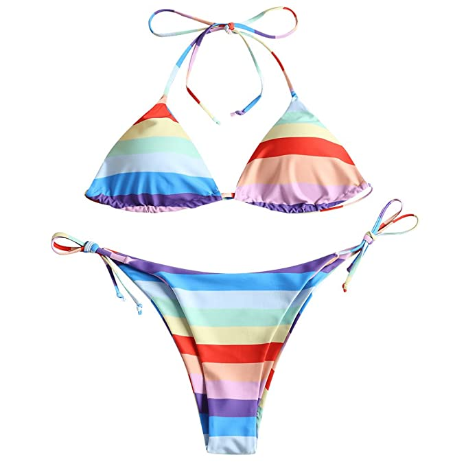 69ee62ec78a ZAFUL Women's Strapless Rainbow Stripe High Cut Two Piece Bandeau Bikini  Set (Triangle, ...