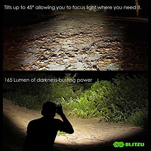 BLITZU-Head-Flashlight-Headlamp-165-Lumen-Headlight-with-Bright-White-Cree-Led-Red-Light-for-Kids-Men-Women-Runners-Batteries-Included-for-Running-Camping-Waterproof-Adjustable-Lamp-Headband