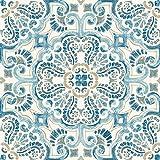 tile kitchen floor FloorPops FP2477 Fontaine Peel & Stick Tiles Floor Decal, Blue