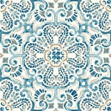 tile kitchen floor  FP2477 Fontaine Peel & Stick Tiles Floor Decal Blue