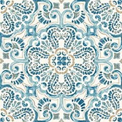 Add a splash of color and intrigue to your floors with these peel and stick tiles. The Blue, tan, and white moroccan-inspired design looks hand painted. Fontaine peel & stick floor tiles contains 10 pieces on 10 sheets that measure 12 x 1...